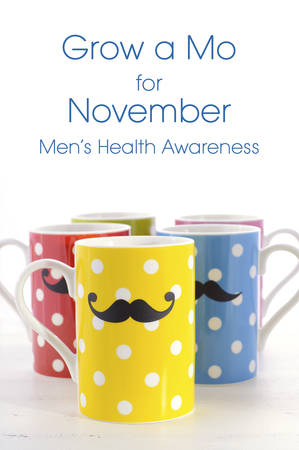 mo: Colorful polka dot coffee mugs with mustaches for November Mens health awareness, with Grow a Mo, sample text.
