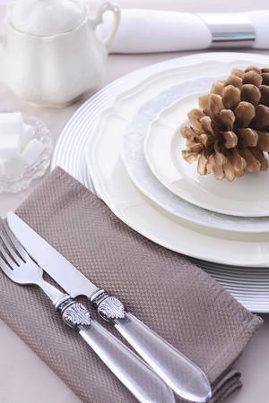 subdued: Elegant Thanksgiving table place setting with fine china, crystal and antique cutlery in subdued colors with pine cone place card holder.