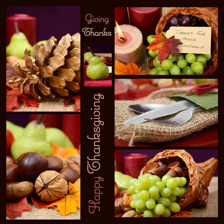 cornucopia: Country style rustic Thanksgiving table setting collage with sample text and closeup on pine cone, nuts and cutlery.