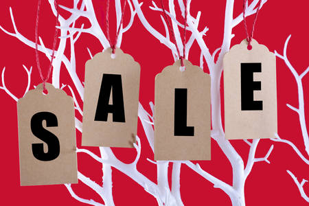 long weekend: Sale tickets hanging from Winter tree branch against a bright red background for retail sales promotion. Stock Photo