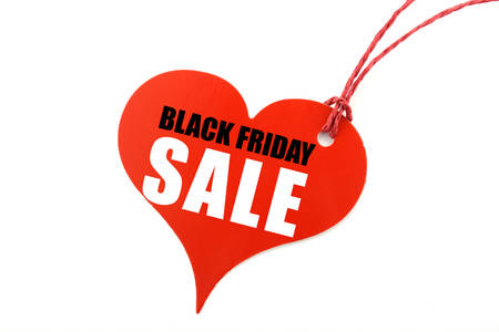 long weekend: Red Heart shaped Sales Promotion Tag Ticket against a white background for Black Friday weekend.