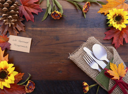place card: Happy Thanksgiving dark wood background with decorated borders. Stock Photo