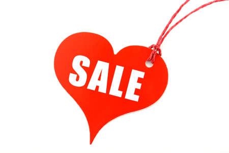Red Heart shaped Sales Promotion Tag Ticket against a white background.