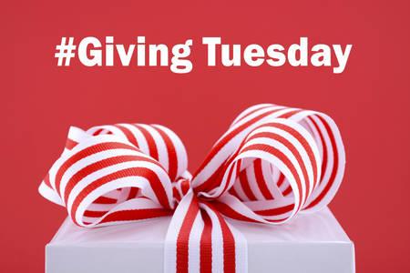 Rode en witte gift symbolisch voor het geven dinsdag met voorbeeld tekst op heldere rode en witte achtergrond. Stockfoto