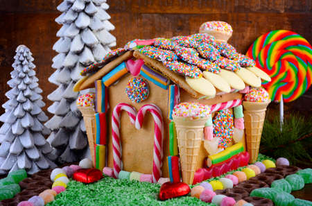 Festive Christmas Gingerbread House Decorated With Candy Canes Enchanting Candy Cane House Decorations