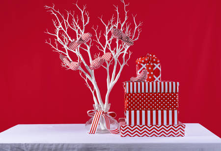 christmas tree branch: Stylish stack of festive Christmas red and white gifts with modern white tree branch and ornamental birds on white table against a bright red background.