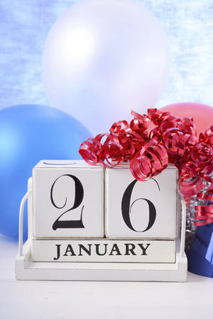 australia day: Happy Australia Day calendar with red, white and blue party decorations.