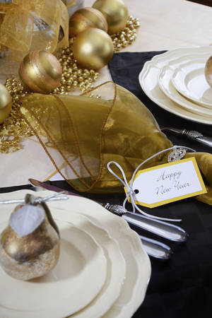 Happy New Years Eve Elegant Dinner Table Setting With Black And ...
