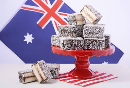 lamington: Traditional Australian Lamington Cakes with Australian flag on red white and blue theme colours.