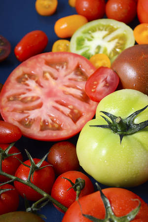 varieties: Medley of Tomato Varieties on Blue Wood Background.