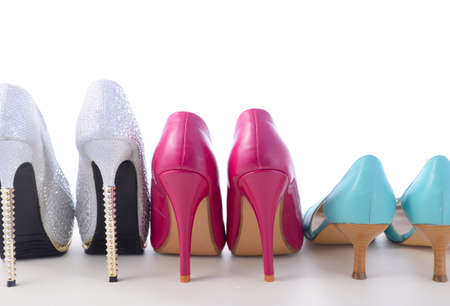 pairs: Row of different pairs of shoes symbolizing different women for International Womens Day, March 8.
