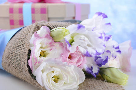 caring for: Beautiful Mothers Day lisianthus flowers wrapped in burlap and blue paper with gift box on white wood table and blue background, closeup.