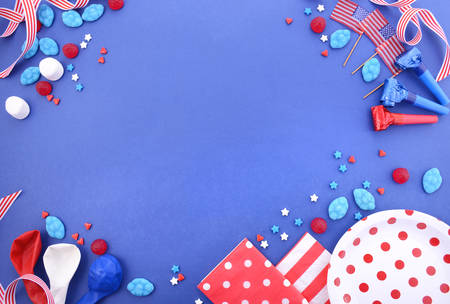 candy border: Happy Fourth of July BBQ and party background with decorated borders in red, white and blue theme colors, with copy space.