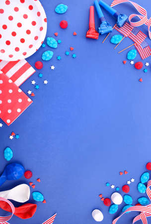 independance: Happy Fourth of July BBQ and party background with decorated borders in red, white and blue theme colors, with copy space.