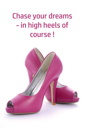 Women s shoes: Pink High Heel shoes with funny saying, Chase your dreams in high heels of course.