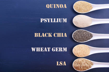 psyllium: Grains including, white grain quinoa, psyllium husk powder, black chia, wheat germ, and ground LSA mix, in white measuring spoons, with text labels.