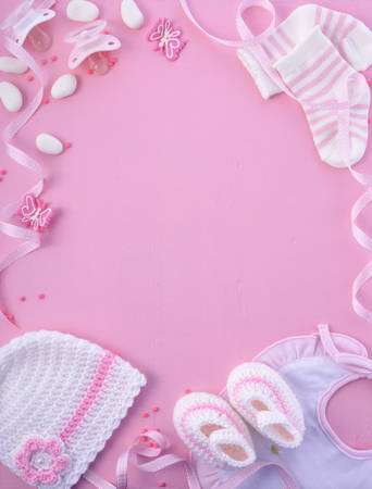 Its a Girl pink theme Baby Shower or Nursery background with decorated borders on pink wood background. Stock Photo - 60926532