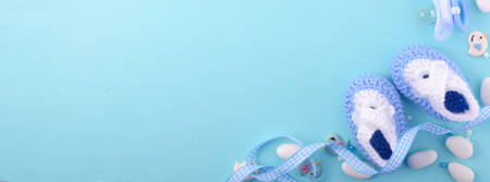 placeholder: Its a boy, blue theme Baby Shower or Nursery background with decorated borders, sized to fit a popular social media cover image placeholder. Stock Photo