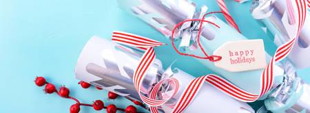 christmas cracker: Festive Christmas cracker bon-bons, sized to fit a popular social media cover image placeholder. Stock Photo