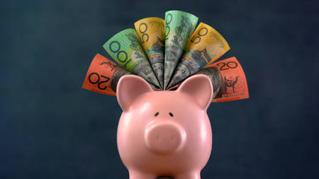 Pink Piggy bank money concept on dark blue background, stuffed with Australian cash.