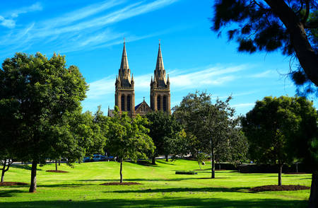 adelaide: View of St Peters Cathedral taken from parklands near King William Road, Adelaide South Australia.