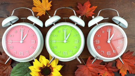 Turning the clocks back one hour for Autumn Fall daylight saving time.