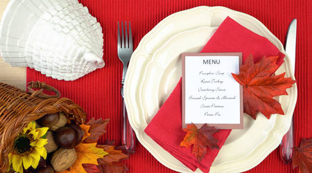 Thanksgiving table close up of individual place setting, overhead.