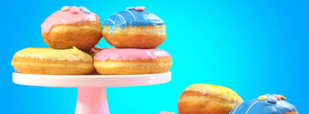 Pop Art Color style donuts and bakery goodies on bright colorful background sized to fit a popular social media cover image placeholder. Stock Photo