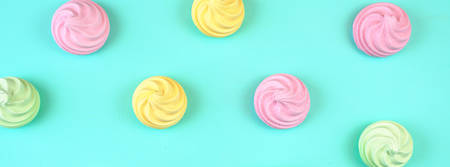 Pop Art Color style donuts and bakery goodies on bright colorful background sized to fit a popular social media cover image placeholder. Imagens