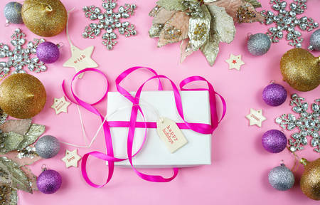 Colorful Christmas overhead in modern pink, gold and silver theme