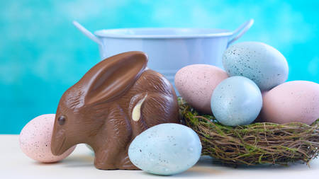Australian milk chocolate Bilby Easter egg with eggs in nest against a blue and white background Stock Photo