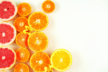 Colorful citrus fruit including blood grapefruit, mandarins, oranges, lemons on white  with copy space.