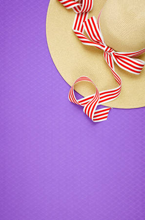 Summer vacation theme flatlay overhead with sunhat on purple background.