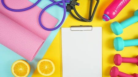 Health and fitness concept flat lay with exercise equipment on modern colorful background with copy space. 写真素材