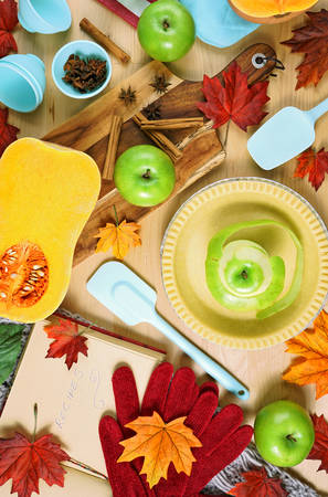 Autumn Fall baking concept flat lay overhead making apple and pumpkin pie preparation.