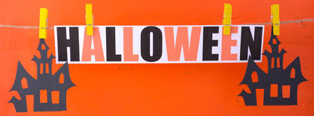 Halloween Bunting Garland Social Media Banner sized to fit a popular social media cover image placeholder. 写真素材