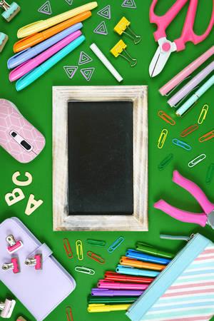 Back to school blackboard concept flat lay overhead, vertical. 写真素材