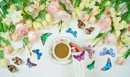 Hello Springtime relaxing tea break concept flat with spring flowers and butterflies. Stock Photo