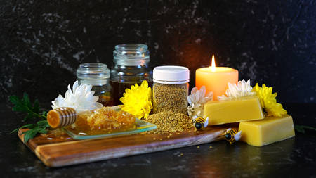 Honey and related products including honeycomb, pollen and beeswax for many household uses including candle making.