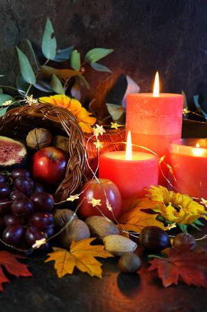 Thanksgiving Füllhorn Tischdekoration Herzstück hautnah.