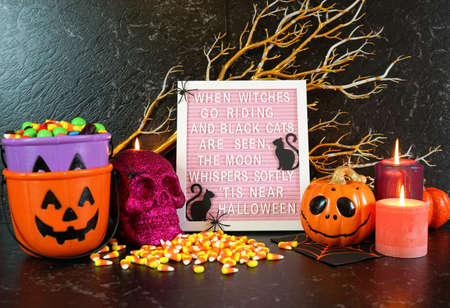Halloween mantel table centerpiece with Halloween poem letter board.