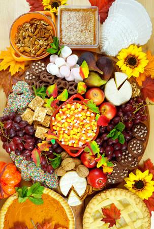 Thanksgiving cheese and dessert grazing platter charcuterie board.
