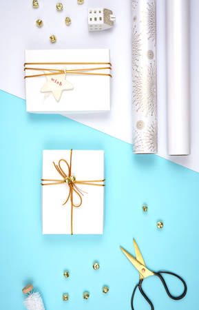 Christmas holiday flat lay gift wrapping on-trend composition.