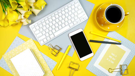 2021 colors of the year, yellow and gray, desktop workspace.
