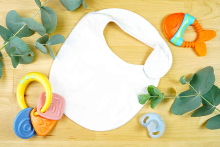 Light natural theme baby apparel top view flat lay. Mock up Banque d'images