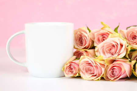 Mother s Day Valentine wedding product mockup styled with blush pink roses.