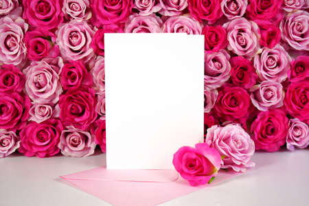 Flower wall aesthetic Mother s Day Valentine wedding greeting card mockup.