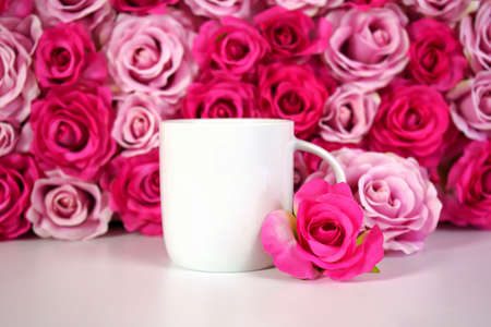 Flower wall aesthetic Mother s Day Valentine wedding coffee mug product mockup.