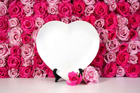 Flower wall aesthetic Mother s Day Valentine wedding heart plate product mockup.