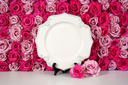 Flower wall aesthetic Mother s Day Valentine wedding vintage plate mockup.